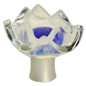 """Grace White Glass Hardware 1 3/4"""" Tulip Royal Blue Knob"""