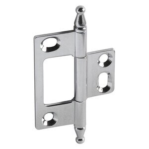 Hafele Hardware Non-Mortised Decorative Butt Hinge with Minaret Finial in Polished Chrome