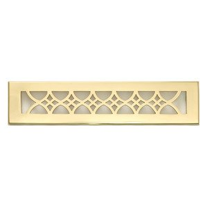 "Hamilton Sinkler Solid Brass 2 1/4"" x 14"" Strathmore Wall Register with Louver in Polish Brass"
