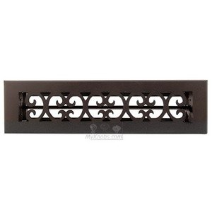 """Hamilton Sinkler Solid Bronze 2 1/4"""" x 12"""" Scroll Wall Register with Louver in Bronze Patina"""