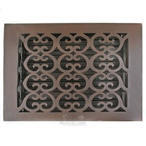 """Hamilton Sinkler Solid Bronze 8"""" x 8"""" Scroll Wall Register with Louver in Bronze Patina"""