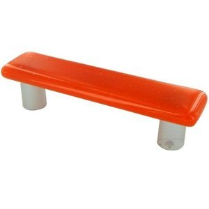 "Hot Knobs 3"" Centers Handle in Opal Orange with Aluminum base"