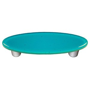 """Hot Knobs 3"""" Centers Oval Handle in Turquoise Blue with Aluminum base"""