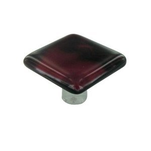 """Hot Knobs 1 1/2"""" Knob in Dark Cranberry Swirl with Aluminum base"""
