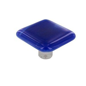 """Hot Knobs 1 1/2"""" Knob in Cobalt Blue Swirl with Aluminum base"""