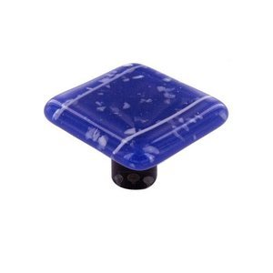 """Hot Knobs 1 1/2"""" Knob in White & Cobalt Blue with Aluminum base"""