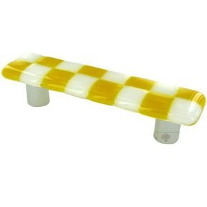 """Hot Knobs 3"""" Centers Handle in Sunflower Yellow with White Squares with Aluminum base"""