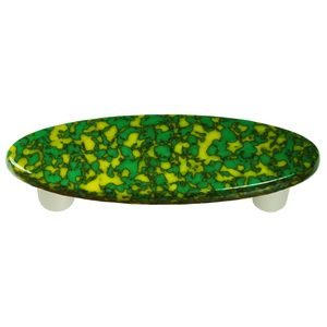 "Hot Knobs 3"" Centers Handle in Sunflower Yellow & Jade Green with Aluminum base"