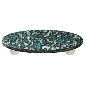 """Hot Knobs 3"""" Centers Handle in Turquoise Blue & French Vanilla with Aluminum base"""