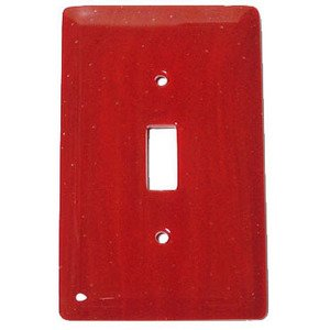 Hot Knobs Single Toggle Glass Switchplate in Brick Red