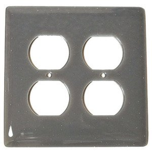 Hot Knobs Double Outlet Glass Switchplate in Deco Gray