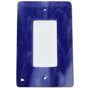 Hot Knobs Single Rocker Glass Switchplate in White Swirl & Cobalt Blue