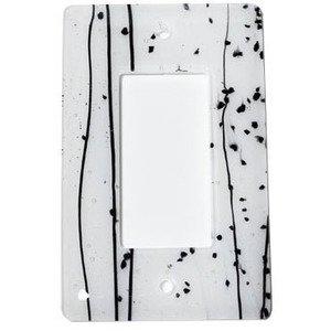 Hot Knobs Single Rocker Glass Switchplate in Black & White