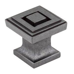 "Jeffrey Alexander 1"" Square Knob in Gun Metal"