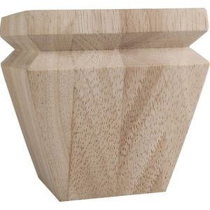 "Hardware Resources 4"" Square x 4"" Tall Tapered Bun Foot with ""V"" Groove in Rubberwood Wood"