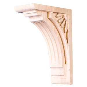 "Hardware Resources 6"" Art Deco Corbel in Alder Wood"