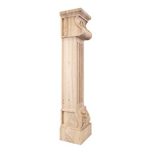Hardware Resources - Acanthus Fluted Traditional Fireplace Corbel in Hard Maple Wood