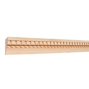"Hardware Resources 2-1/4"" X 1-1/8"" Flat Back Crown Moulding w/Embossed Rope in Poplar Wood (8 Linear Feet)"