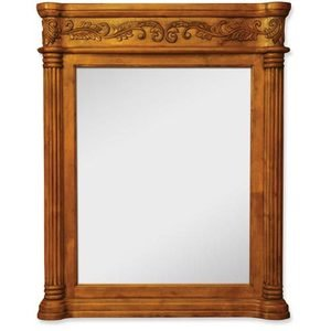 """Jeffrey Alexander 33 11/16"""" x 42"""" Mirror in Golden Pecan with Hand Carved Details and Beveled Glass"""