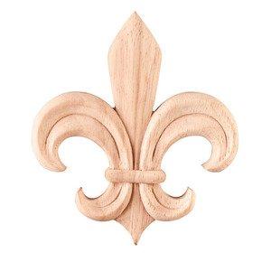 Hardware Resources Fleur-De-Lis Traditional Applique in Rubberwood Wood