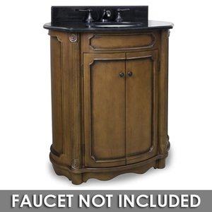 "Elements Hardware 30 1/2"" Bathroom Vanity in Walnut with Black Granite Top and Bowl"