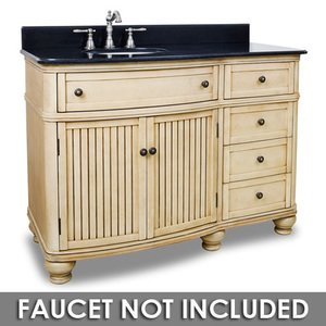 "Elements Hardware 48"" Bathroom Vanity in Buttercream with Black Granite Top and Bowl"