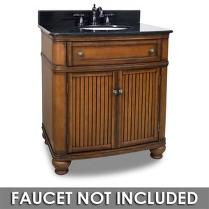 "Elements Hardware 32"" Bathroom Vanity in Walnut with Black Granite Top and Bowl"
