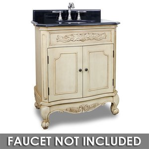 """Elements Hardware 30 1/2"""" Bathroom Vanity in Buttercream with Black Granite Top and Bowl"""