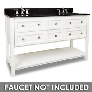 """Elements Hardware 60"""" Bathroom Vanity in White with Black Granite Top and Bowl"""