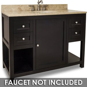 "Jeffrey Alexander Vanity 48"" x 22"" x 36"" in Espresso with Brown/Tan Top"