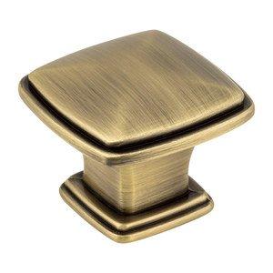 "Jeffrey Alexander 1 3/16"" Plain Square Knob in Brushed Antique Brass"