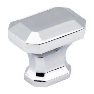 "Jeffrey Alexander 1 1/4"" Square Knob in Polished Chrome"