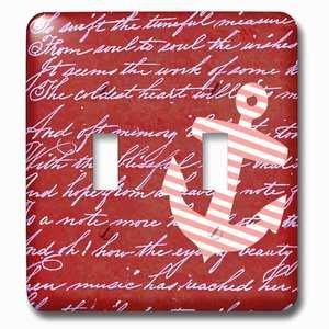Jazzy Wallplates Double Toggle Wallplate With Red And White Stripes Anchor On Handwritten Vintage Burgundy Striped Sailor Nautical Design
