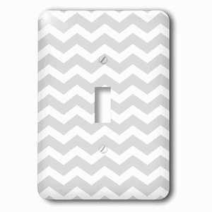 Jazzy Wallplates Single Toggle Wallplate With Gray And White Chevron Zig Zag Pattern Modern Contemporary Grey Zigzag Stripes Silver Zig Zags