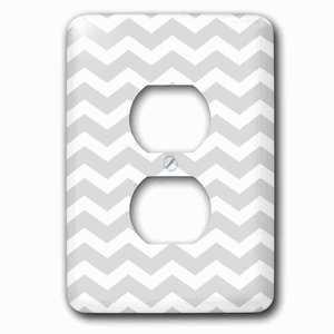 Jazzy Wallplates Single Duplex Outlet With Gray And White Chevron Zig Zag Pattern Modern Contemporary Grey Zigzag Stripes Silver Zig Zags