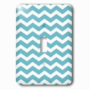 Jazzy Wallplates Single Toggle Wallplate With Teal And White Chevron Zig Zag Pattern Trendy Modern Stylish Turquoise Aqua Blue Zigzag Stripe