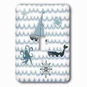 Jazzy Wallplates Single Toggle Wallplate With Marine Life Ocean Nautical Beach Theme Art Octopus