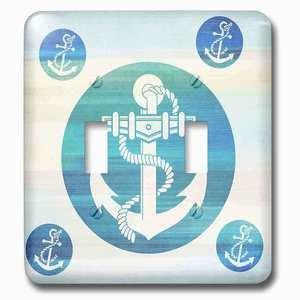 Jazzy Wallplates Double Toggle Wallplate With Anchor In Aqua Circles Nautical Beach Theme Art