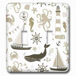 Jazzy Wallplates Double Toggle Wallplate With Cream Nautical Beach