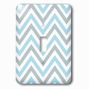 Jazzy Wallplates Single Toggle Wallplate With Light Blue And Grey Chevron Zig Zag Pattern Modern Pastel Zigzags