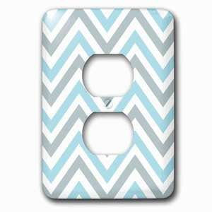 Jazzy Wallplates Single Duplex Outlet With Light Blue And Grey Chevron Zig Zag Pattern Modern Pastel Zigzags