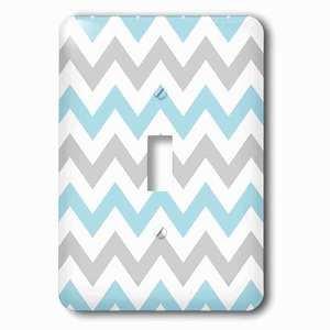 Jazzy Wallplates Single Toggle Wallplate With Gray And Baby Blue Chevron Zig Zag Pattern Stylish Pastel Zigzags