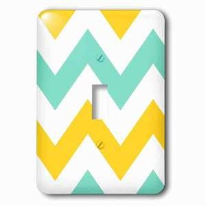 Jazzy Wallplates Single Toggle Wallplate With Big Yellow And Teal Chevron Zig Zag Pattern Turquoise Zigzag Stripes