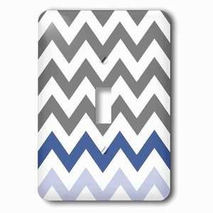 Jazzy Wallplates Single Toggle Wallplate With Charcoal Grey Chevron With Blue Zig Zag Accent Gray Zigzag Pattern