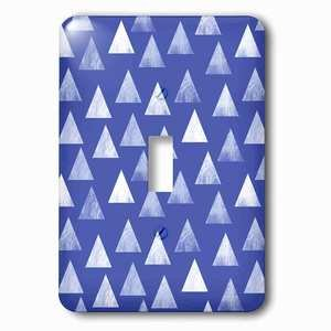 Jazzy Wallplates Single Toggle Wallplate With Dark Blue Triangle Pattern White Stamp Textured Printed Look Print