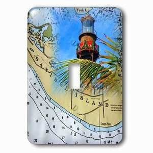 Jazzy Wallplates Single Toggle Wallplate With Print Of Sanibel Nautical Chart With Real Lighthouse