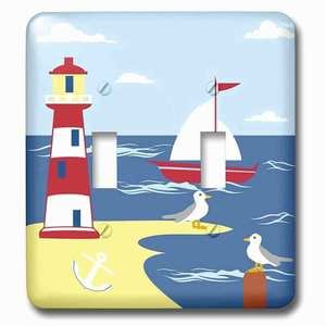 Jazzy Wallplates Double Toggle Wallplate With Image Of Digital Lighthouse Sailboat Anchor And Seagull