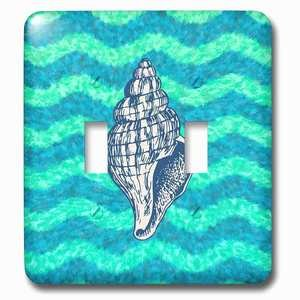 Jazzy Wallplates Double Toggle Wallplate With Nautical Theme Shell Illustration On Wavy Blue Green Background