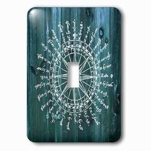 Jazzy Wallplates Single Toggle Wallplate With Antique Nautical Compass In White On Blue Wood Effectnot Real Wood