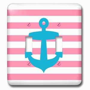 Jazzy Wallplates Double Toggle Wallplate With Nautical Light Blue Anchor With Coral Red Or Pink Sailor Stripes Pattern French Breton Stripe